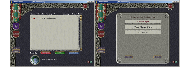 Playing uo renaissance on a mac osx using a download and play.